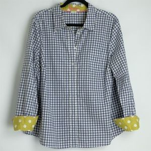 Boden Striped Button-Down Dark Blue Shirt, Sz 18R
